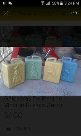 Galoneras Porongos de Plastico Vintage