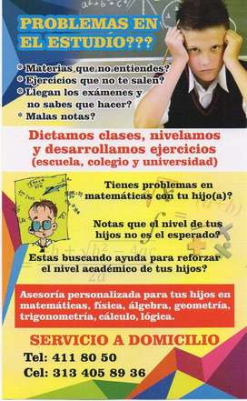 Clases matemáticas Medellin a domicilio o virtual