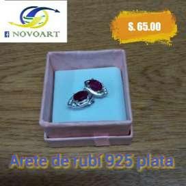 Arete de Plata Ley 925 con Piedra Rubi