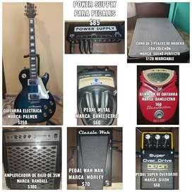 Se vende Guitarra Electrica, Amplificador de Bajo y Pedales Analógicos