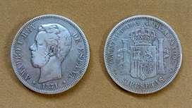 Moneda de 5 pesetas de Plata, España 1871 *71*