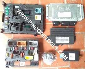 Set Completo de Inyeccion de Peugeot 307 y Citroen C4  Bosch ME7.4.9  ECU  BSI  BSM  Confort  Alarma  Llave