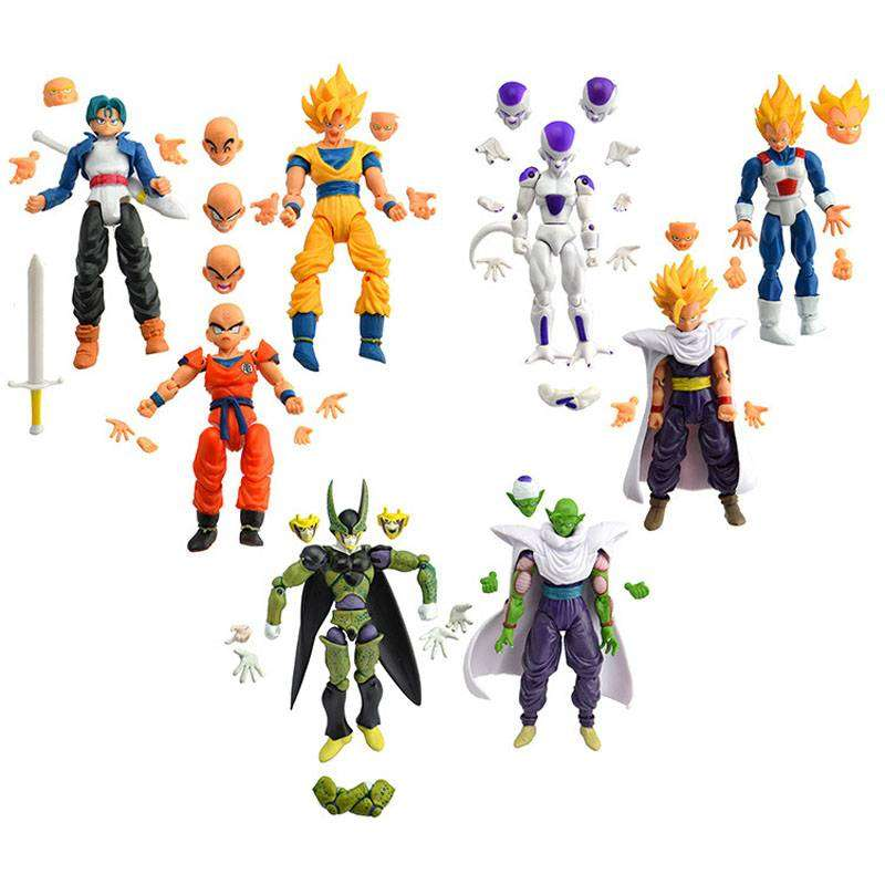 10 Figuras Dragon Ball Z con Rostros y Manos intercambiables 0