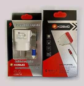 Cargador Rápido de 2A Conector micro USB KOSMO