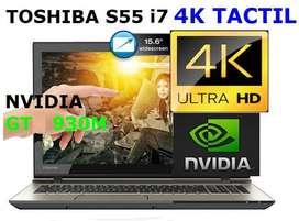 toshiba s55 core i7 4k tactil, 1tb 8gb ram, teclado iluminado,