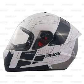 Casco Shox Stinger Gal Blanco Brillante para Motociclistas