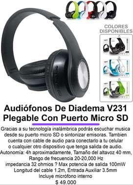 Audiófonos De Diadema V231 Plegable Con Puerto Micro SD