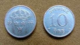 Moneda de 10 öre de plata Suecia 1935