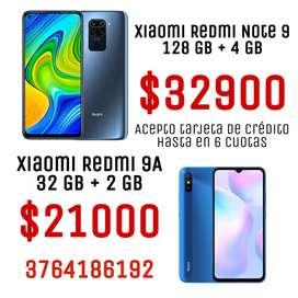 Celulares Xiaomi Note 9 y Redmi 9A en oferta