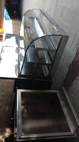 vitrtina para fritos con calentador y freidora