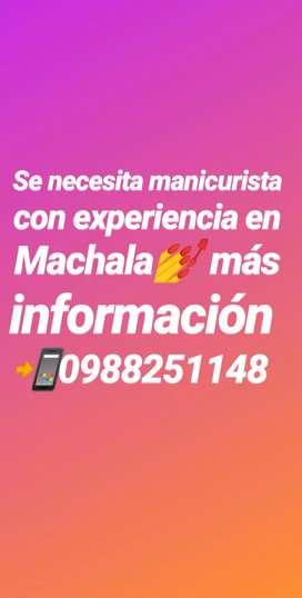 Se necesita manicurista con experiencia en Machala
