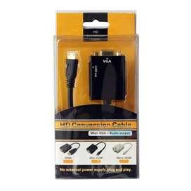 Convertidor / Adaptador Hdmi A Vga + Audio ( Incluye Cable)