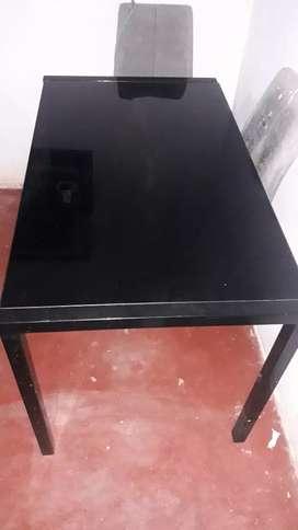 Mesa de vidrio metalica color negro