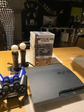 Vendo ps3 mas DJ hero + 20 juegos y accesorios