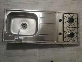 Lavaplatos en acero inoxidable con dos boquillas de gas