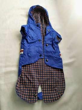 piloto para perro chico pilú pet´s design  azul  con capucha