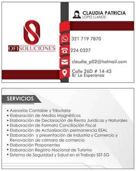 SE OFRECE SERVICIO DE ASESORÍAS CONTABLES Y TRIBUTARIAS