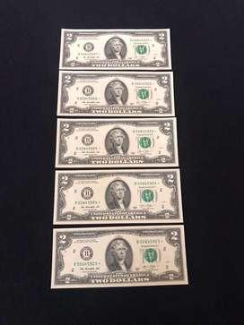 Billetes de $2 UNC de reposicion en serie