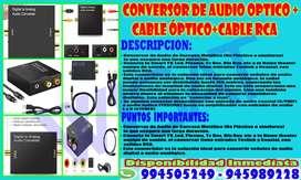 Adaptor convertidor audio digital + cable óptico + cable rca