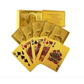 Baraja Cartas En Oro Doradas Poker Blackjack X1/mazos