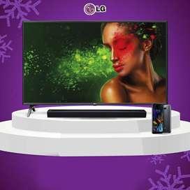 LG SMART TV 50 UHD/4K + BARRA DE SONIDO + SMARTPHONE LG K40