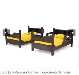 CAMA LITERA 2 PLAZAS EN MADERA DE LAUREL  CON 2 COLCHONES POR SOLO $390