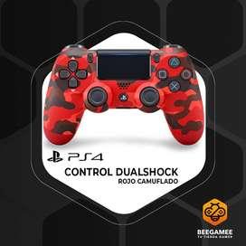 Control PS4 Original Camuflaje Rojo