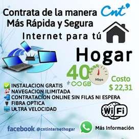 INTERNET HOGAR ILIMITADO FIBRA OPTICA CNT