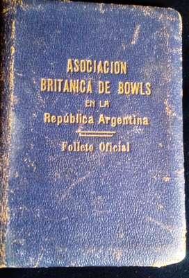 CARNET DE LA ASOCIACION BRITANICA DE BOWLS 1939
