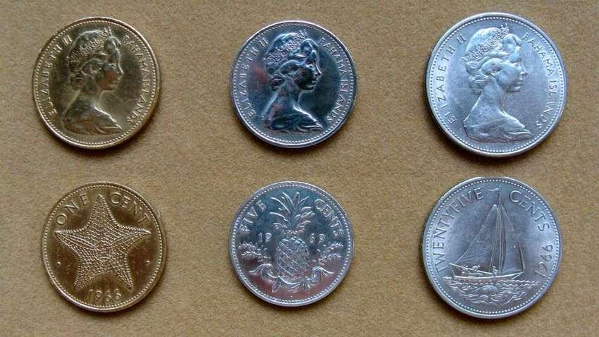 Monedas de 1, 5 y 25 cents Islas Bahamas 1966 1969 0