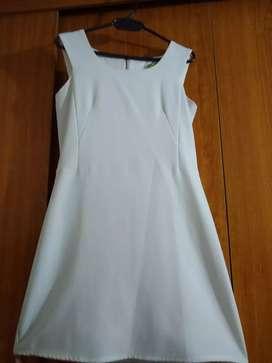 Vestido blanco t m corte recto