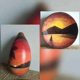 Paisaje sobre madera pintura