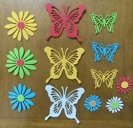 Mariposas y Flores en goma eva
