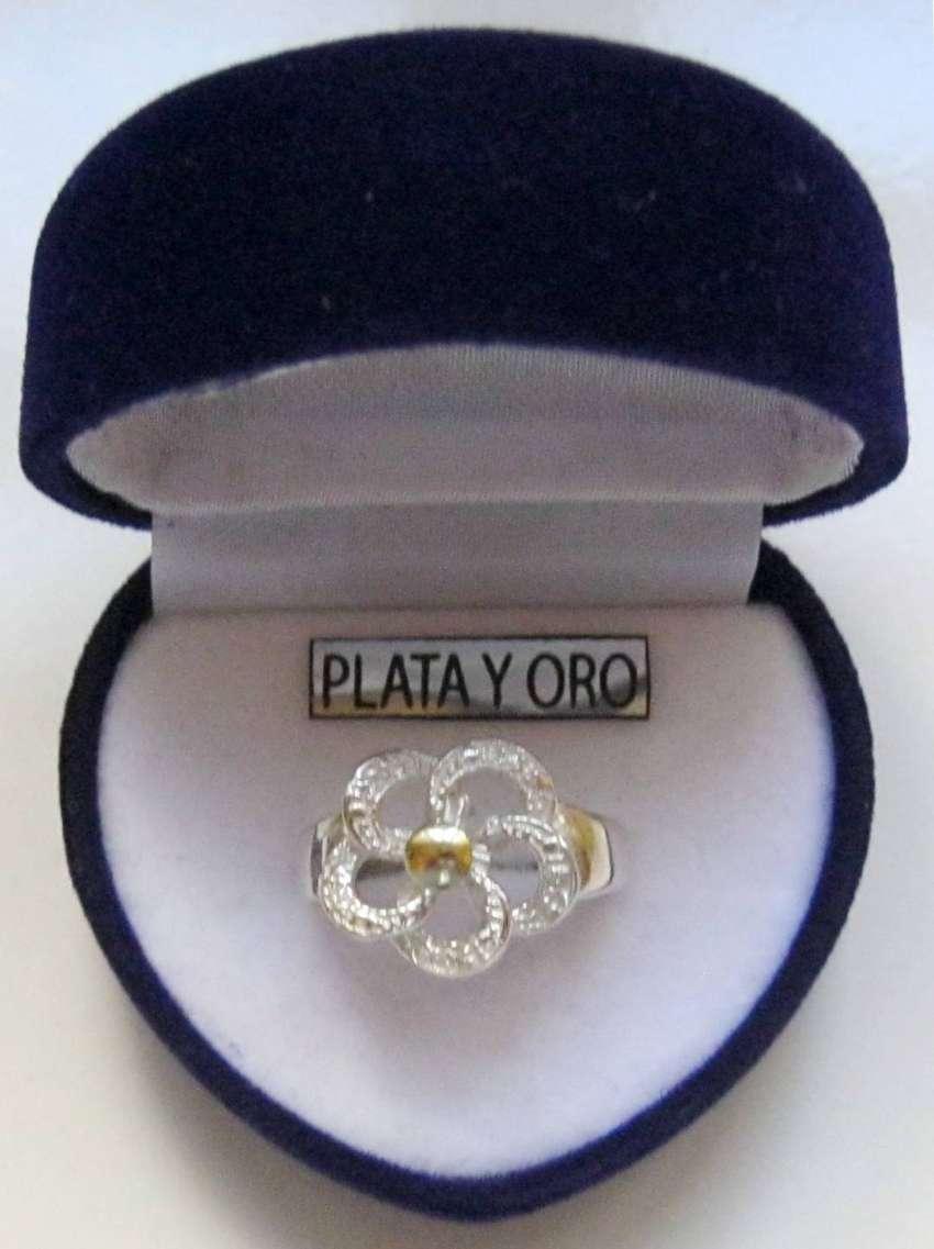 Elegante Anillo * Flor Infinita * De Plata 925 Oro 18k 0