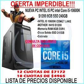 OFERTA!!! PC intel Core i5-10600K S1200 8GB SSD 240GB HASTA EN 18 PAGOS!!!