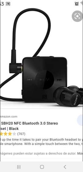 Se vende audifinos sony sbh20 Bluetooth y NFC
