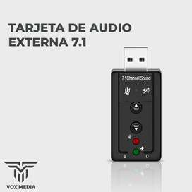 Tarjeta De Audio Sonido Usb Externa Multimedia 7.1 Pc Laptop
