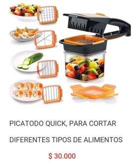 picatodo manual picador cortador multiusos pica corta verduras frutas quesos alimentos nicer dicer quick 5 en 1