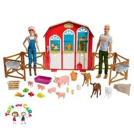 Nuevo Original Barbie y Ken en su granja