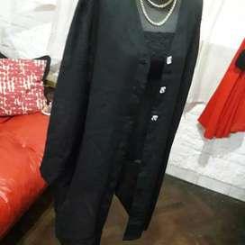 Kimono de gasa negro talle L amplio 46/48 divino, usado segunda mano  Barracas, Capital Federal