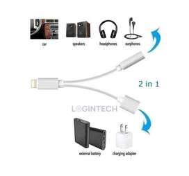Conector Dual Para iPhone, Carga Y Audio Jack 3.5mm 2 En 1