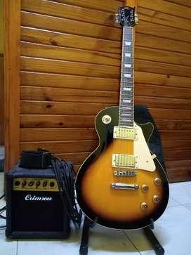 Combo Guitarra Sx EF3 Les Paul Standard + Amplificador Crimson 10w + Funda SX y Soporte - Precio charlable.
