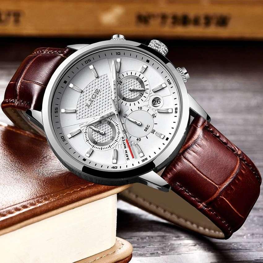 Resistente Elegante Reloj Cronografo REAL Fondo Negro Blanco CRRJU y LIGE Cuero ORIGINAL - 0444 0
