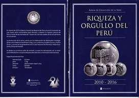 ALBUM + 26 MONEDAS SIN CIRCULAR DE LA COLECCION; RIQUEZAS Y ORGULLO DEL PERU