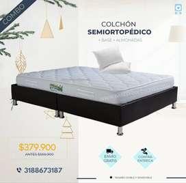 Combo doble 140x190 colchón + base + 2 almohadas + envío Bogotá.