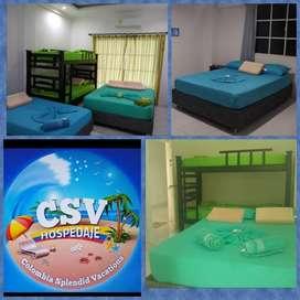 Alquiler de habitaciones, en Casa Hostal en el Rodadero-Santa Marta