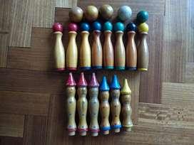 Bolos Antigüo Juego De Bowling en Madera . Para Niños . Colección