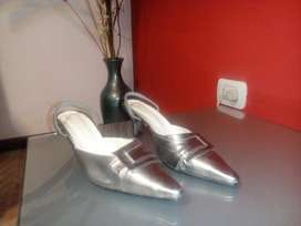 Zapatos de Cuero Mt Plateados