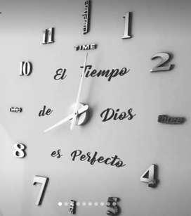 Reloj de pared 3D, tamaño grande 120 x 120 c.m entrega inmediata.