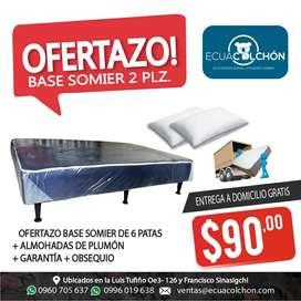 PROMOCIONES BASES  SOMIER DE 2 PLZ camas mas ALMOHADAS mas ENTREGA